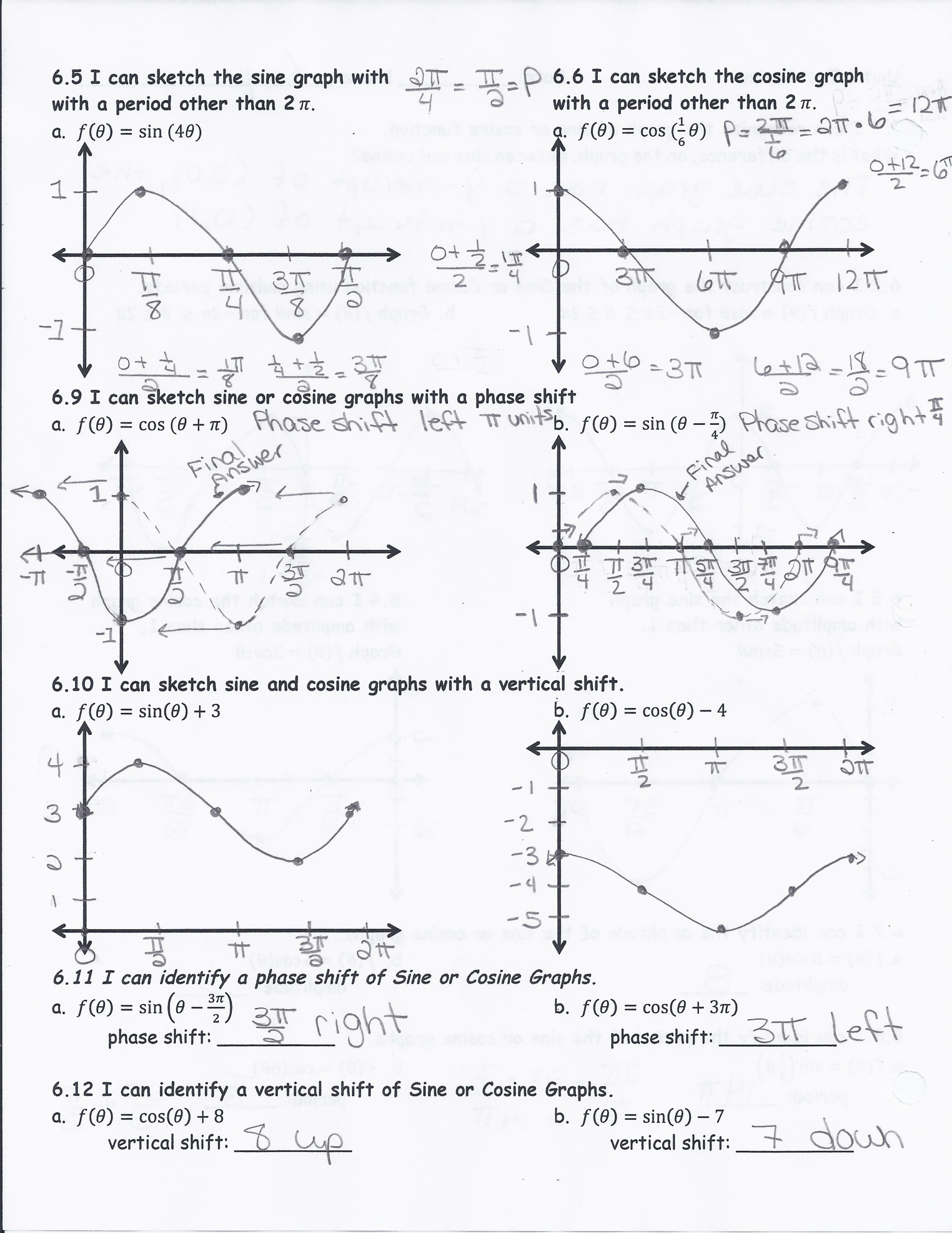 Writing Trig Equations From Graphs Worksheet Answers ...