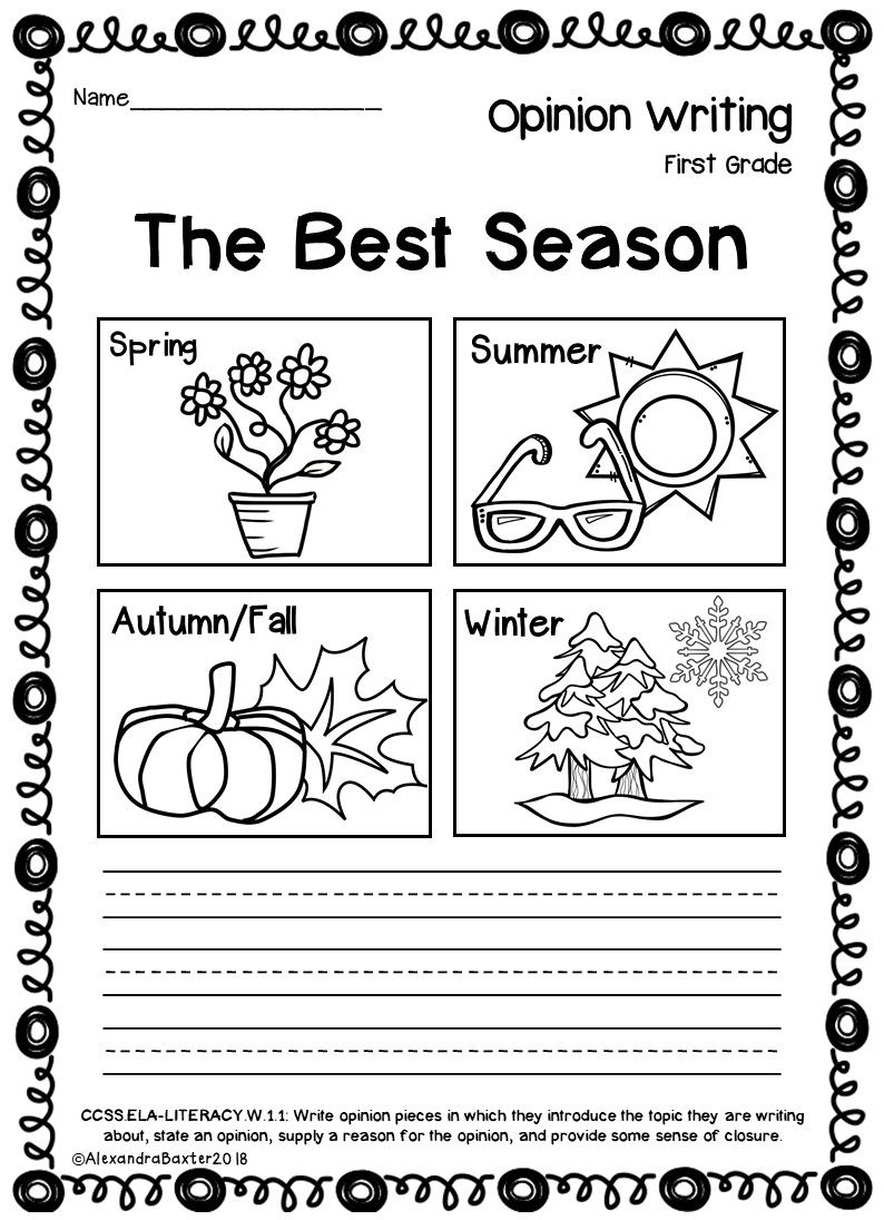 Worksheet ~ 1St Grade Writings Picture Ideas First Opinion