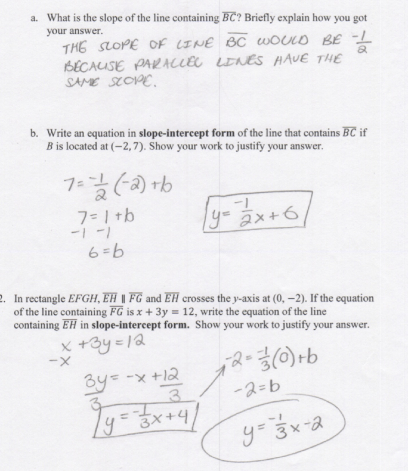 Practice Worksheet Writing Equations Of Lines
