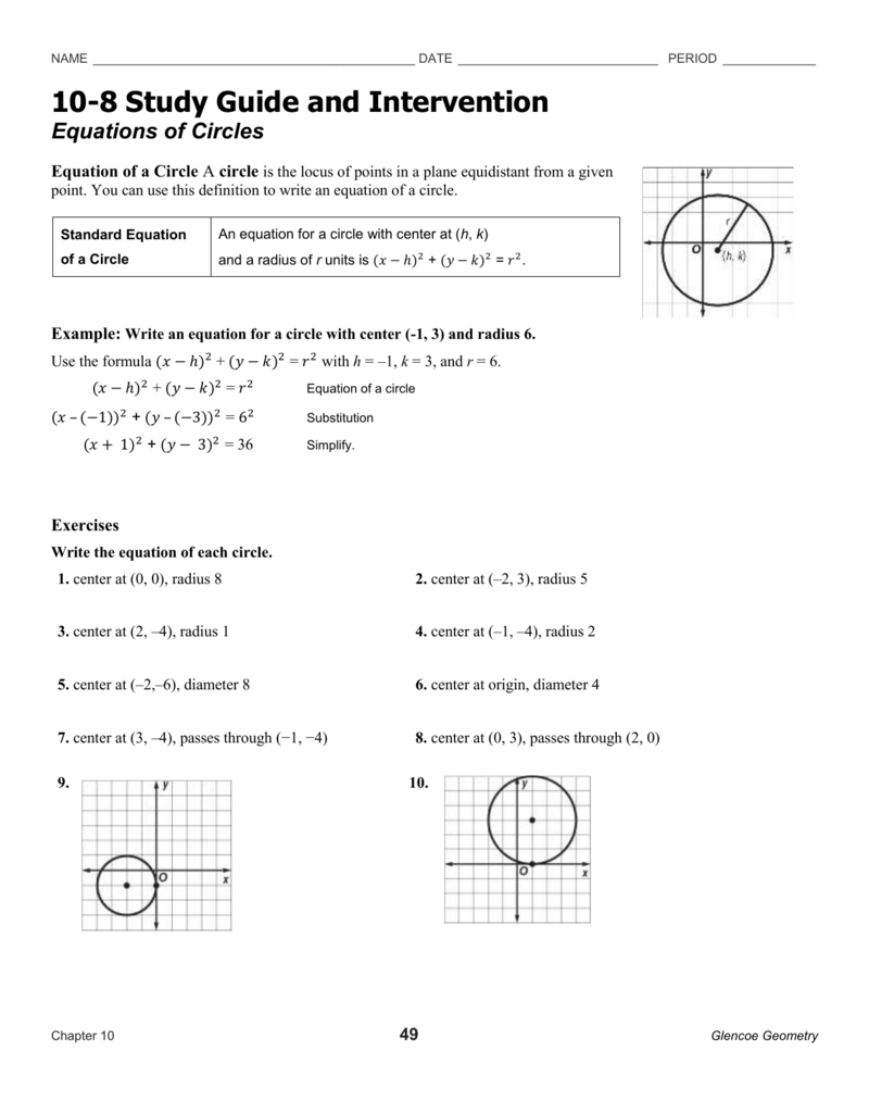 Write An Equation Of A Circle With The Given Center And