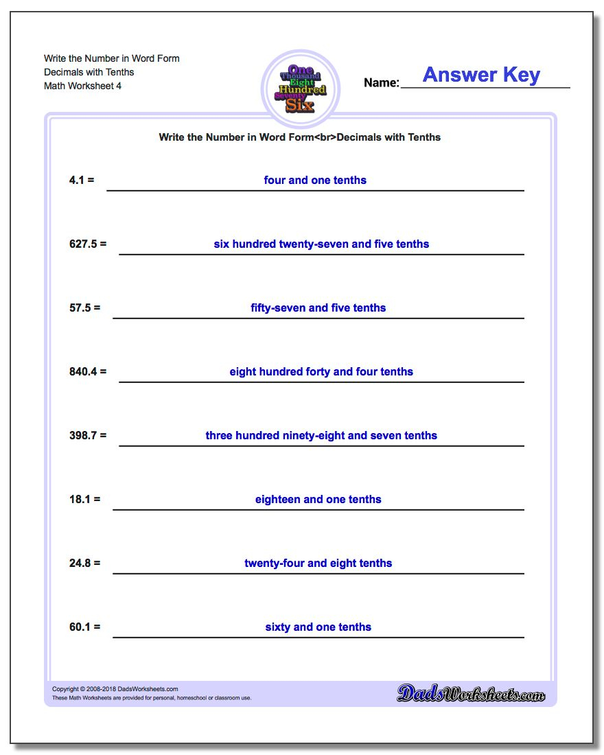 Writing Numbers In Word Form Worksheets