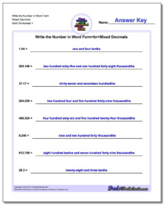 Write Numbers In Word Form Writing Words Worksheets Mixed