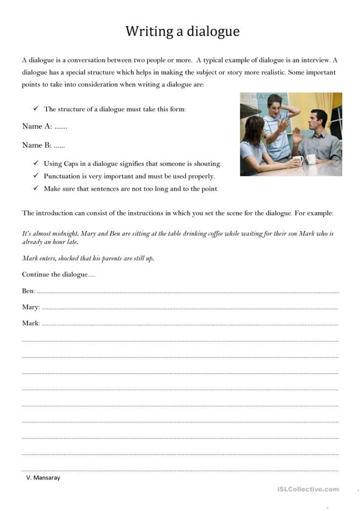 Writing A Dialogue   English Esl Worksheets For Distance