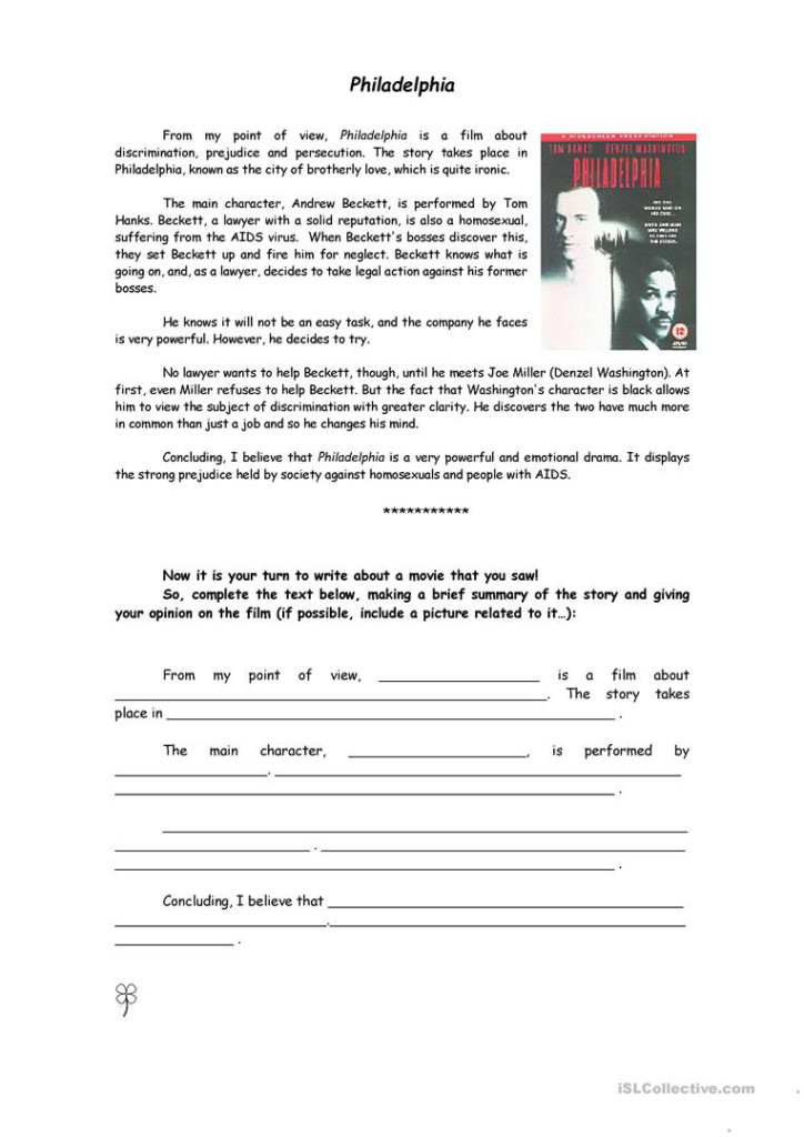 Writing A Film Review   English Esl Worksheets For Distance