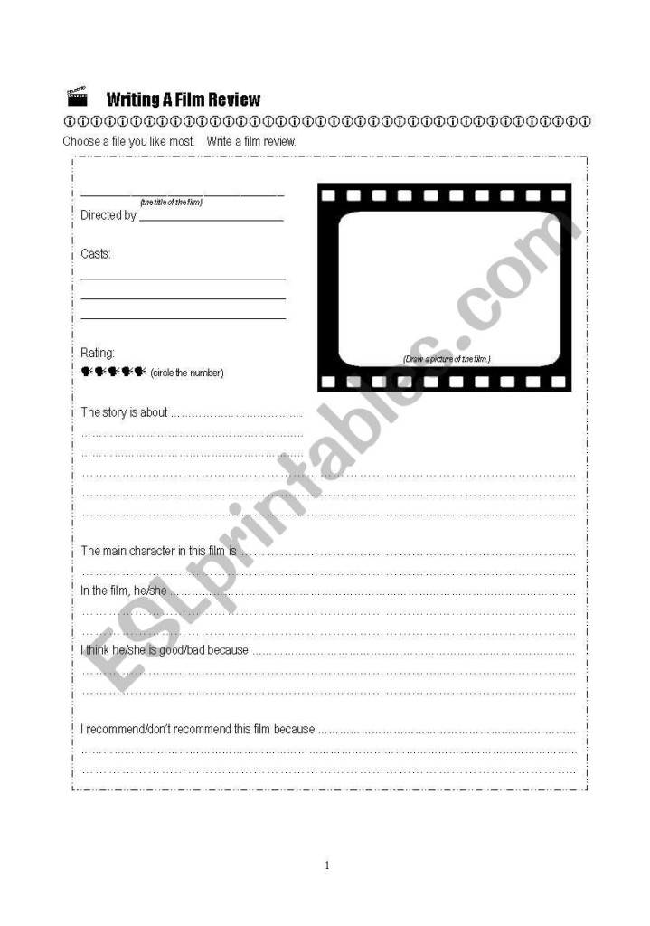 Writing A Film Review   Esl Worksheetmiss W