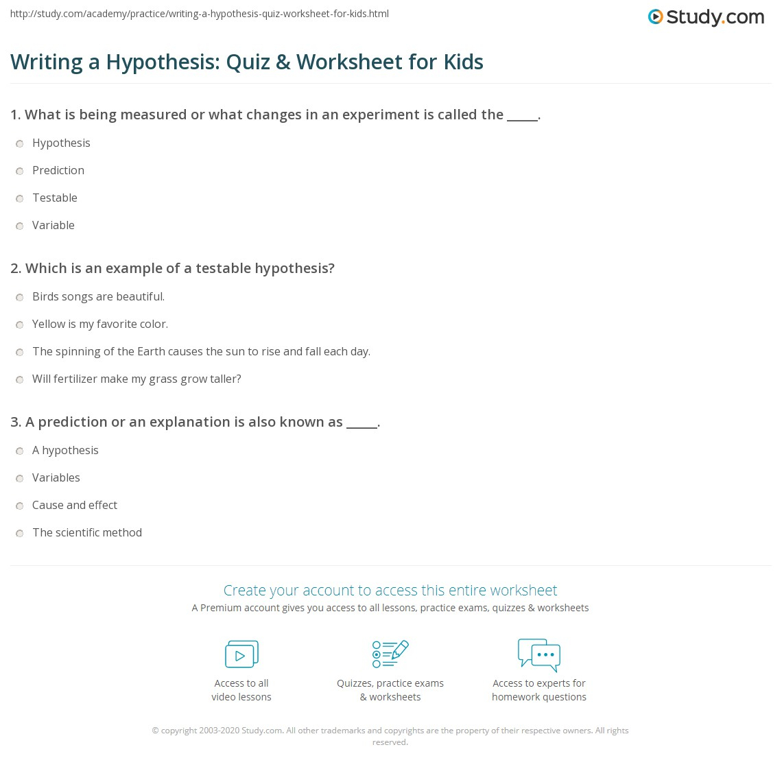 Writing A Hypothesis: Quiz & Worksheet For Kids   Study