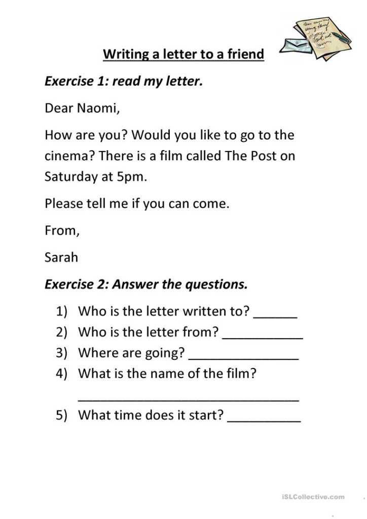 Writing A Letter To A Friend.   English Esl Worksheets For