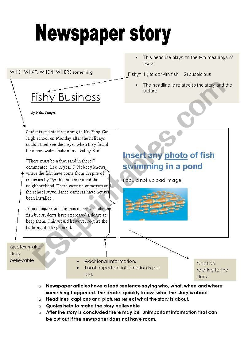 Writing A Newspaper Article: Example And Scaffold - Esl