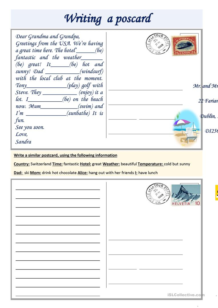 Writing A Postcard - English Esl Worksheets For Distance