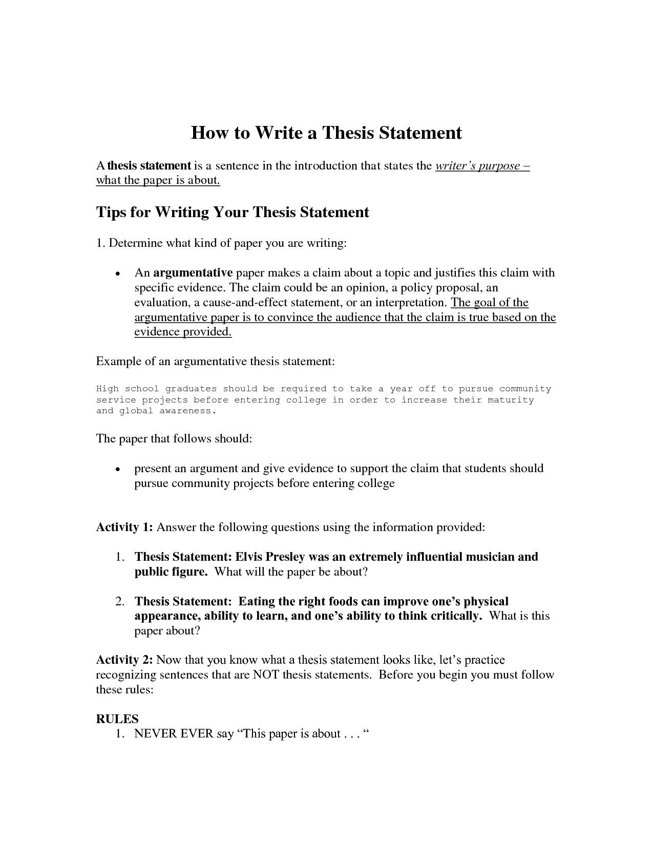 Writing A Thesis Statement Worksheet In 2020 | Writing A