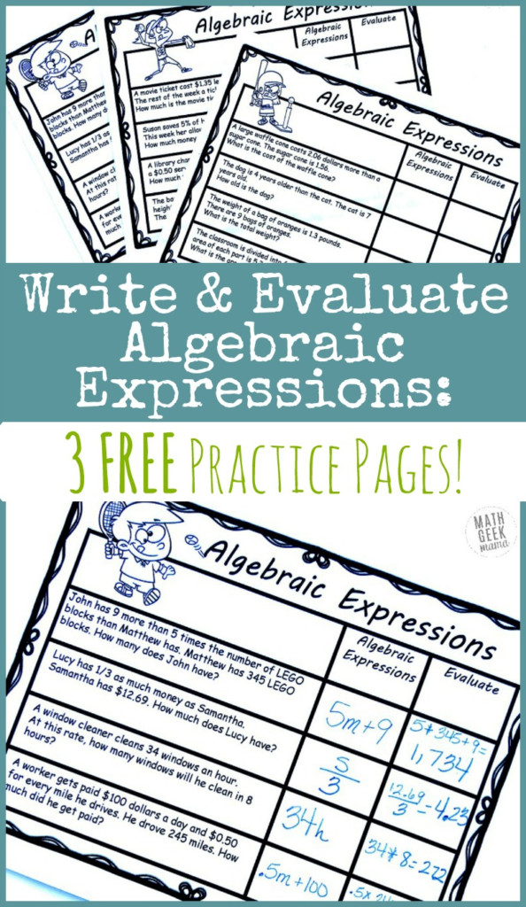Writing Algebraic Expressions: Free Practice Pages | Math