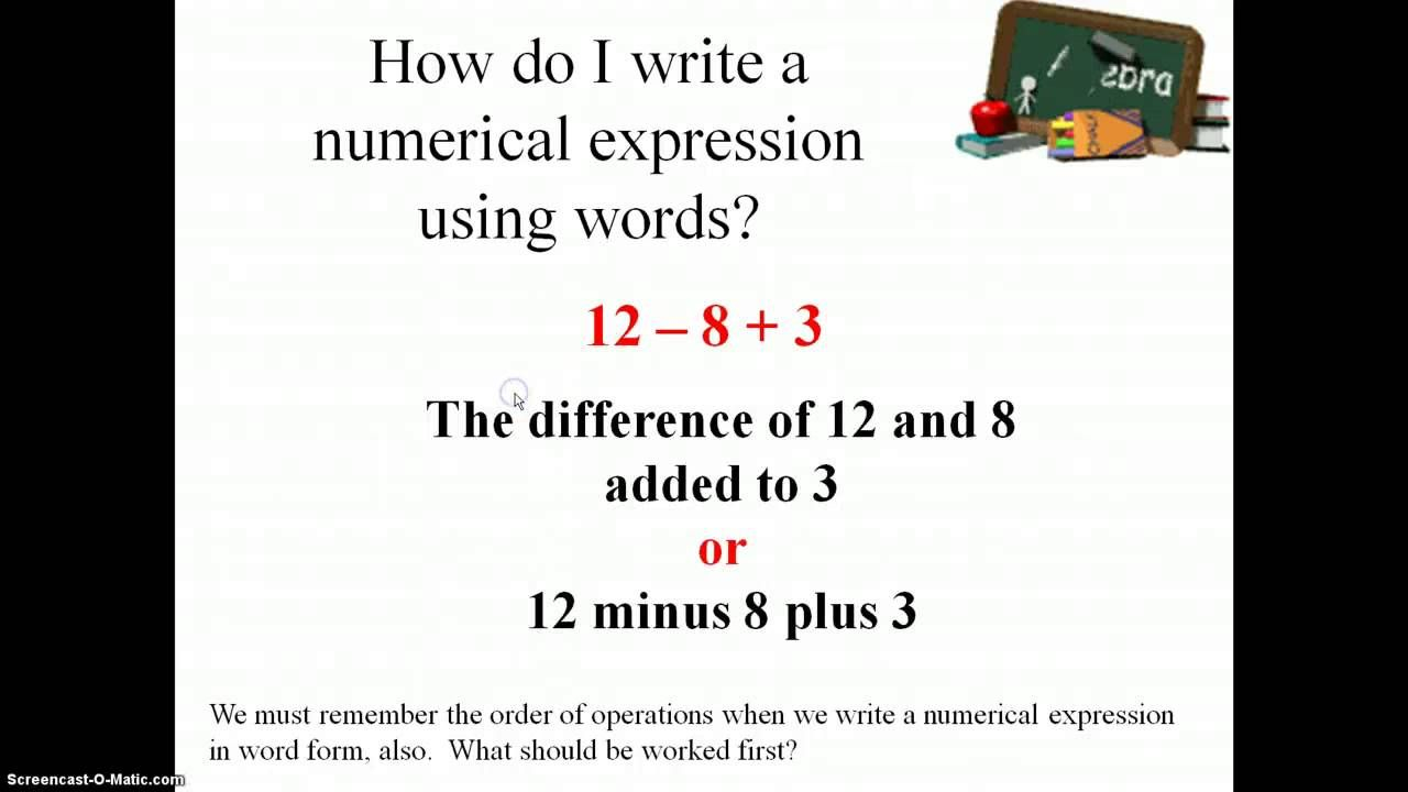 Writing And Interpreting Numerical Expressions Worksheets