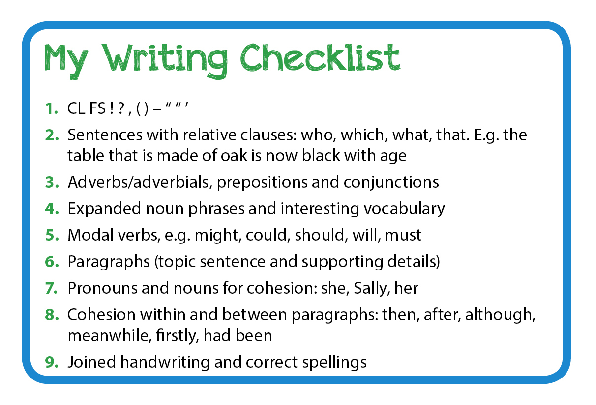 Writing Checklists For Years 1 To 6 To Support Self-Assessment