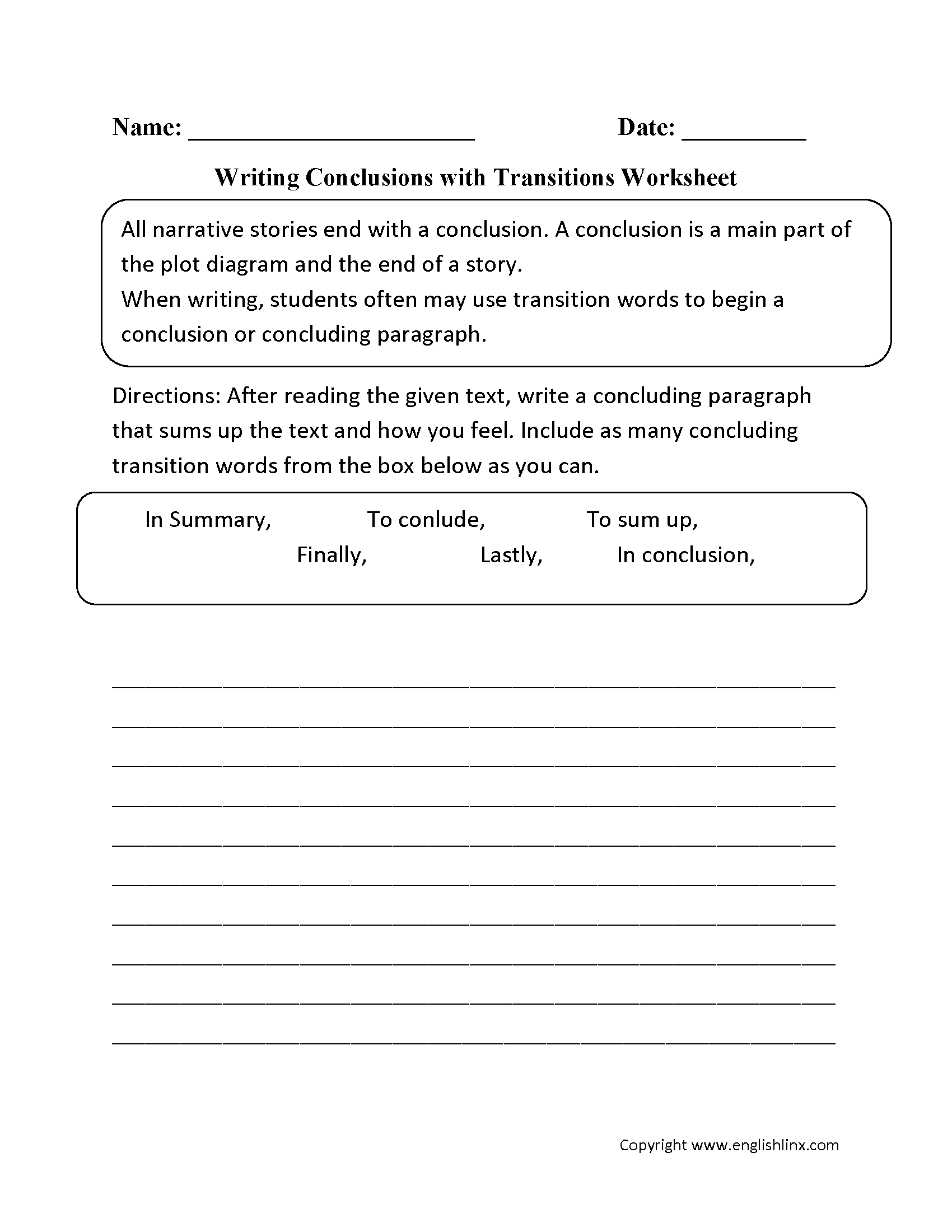 Using Transitions In Writing Worksheet