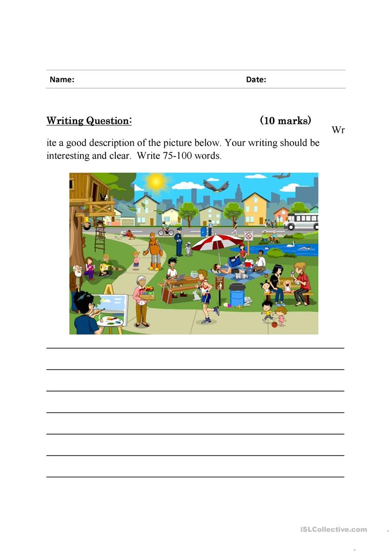 Writing To Describe Worksheets