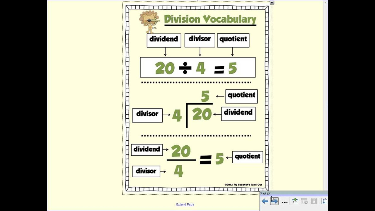 Writing Division Expressions Worksheet