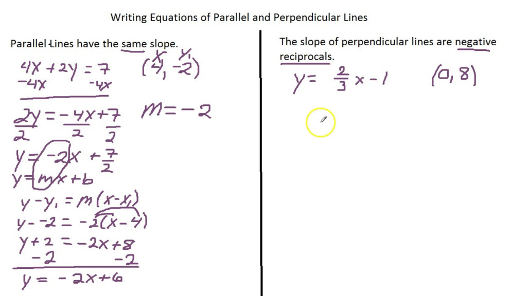 Writing Equations Of Lines Perpendicular Parallel   Tessshebaylo
