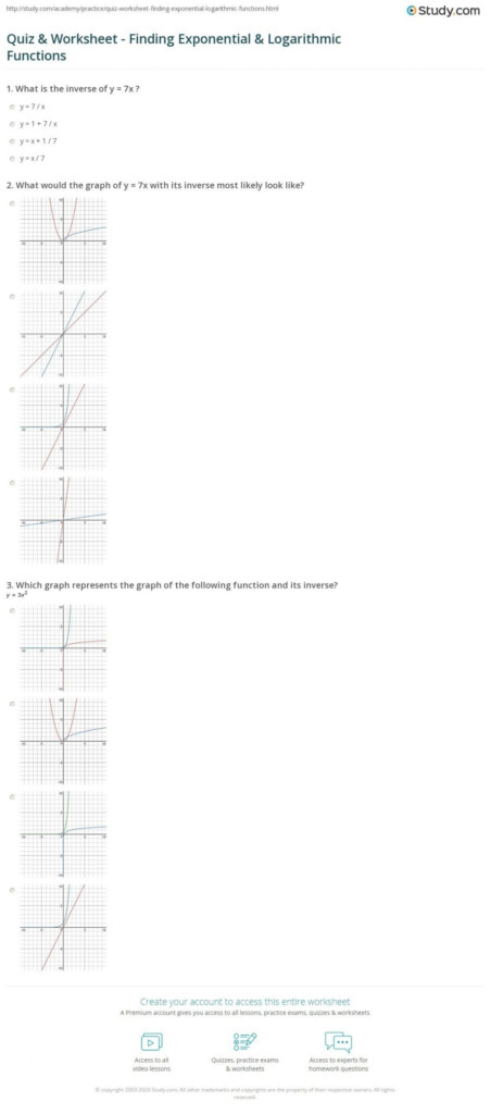 Writing Exponential Functions Worksheet Exponential