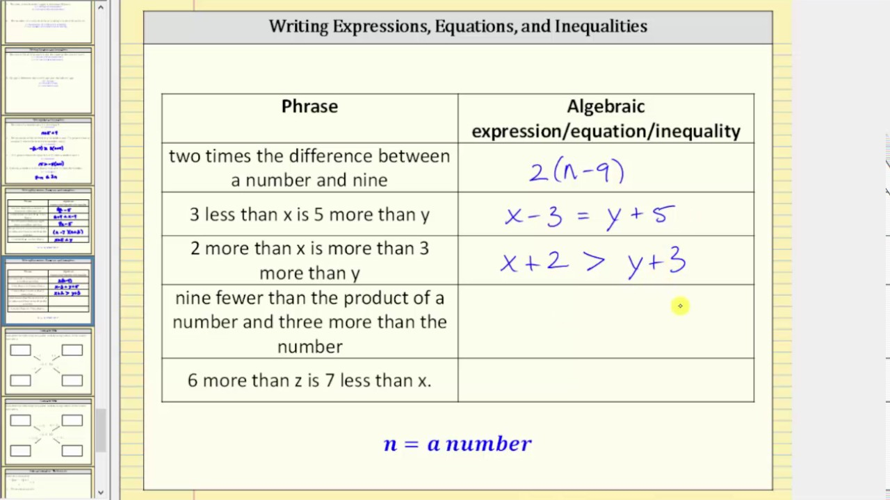Writing Expression, Equations, Or Inequalities From Statements 2
