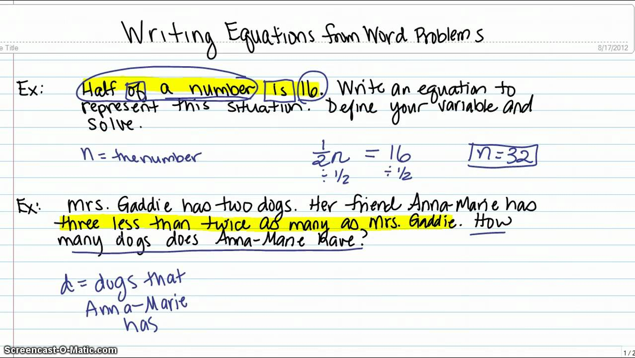 Writing Expressions (Solutions, Examples, Videos)