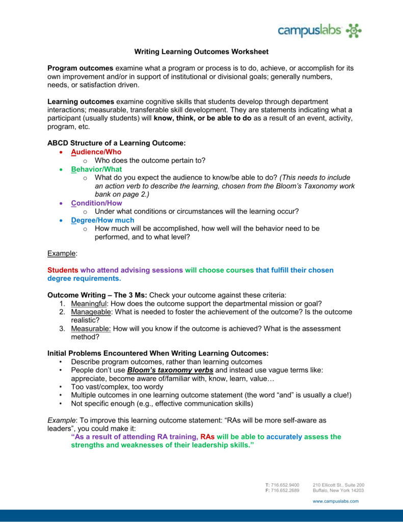 Writing Learning Outcomes Worksheet