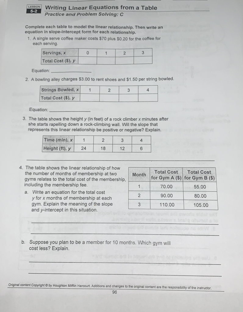 Writing Linear Equations From A Table Lesson 5 2 Answer Key