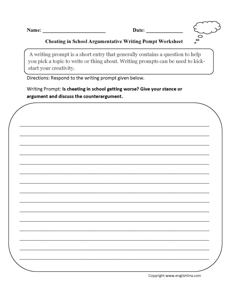 Writing Prompts Worksheets | Argumentative Writing Prompts