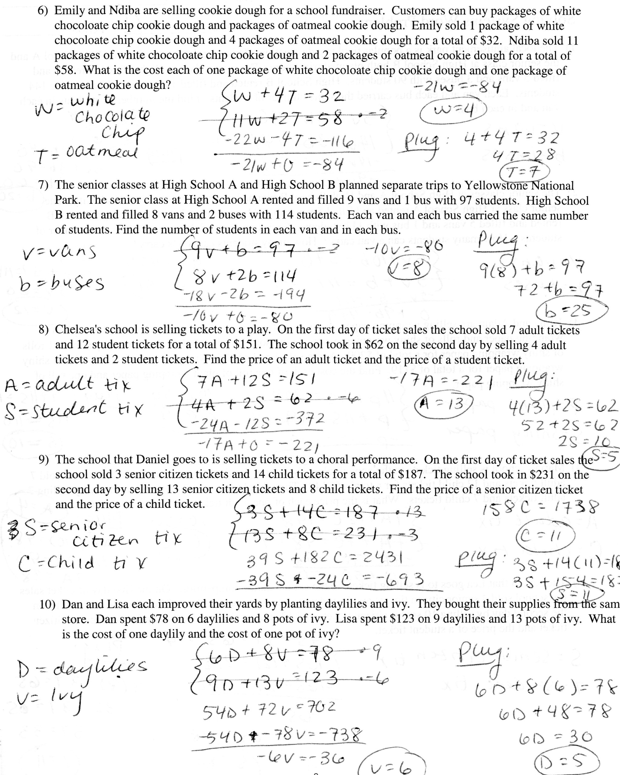 Writing And Solving Systems Of Equations Worksheet Answers