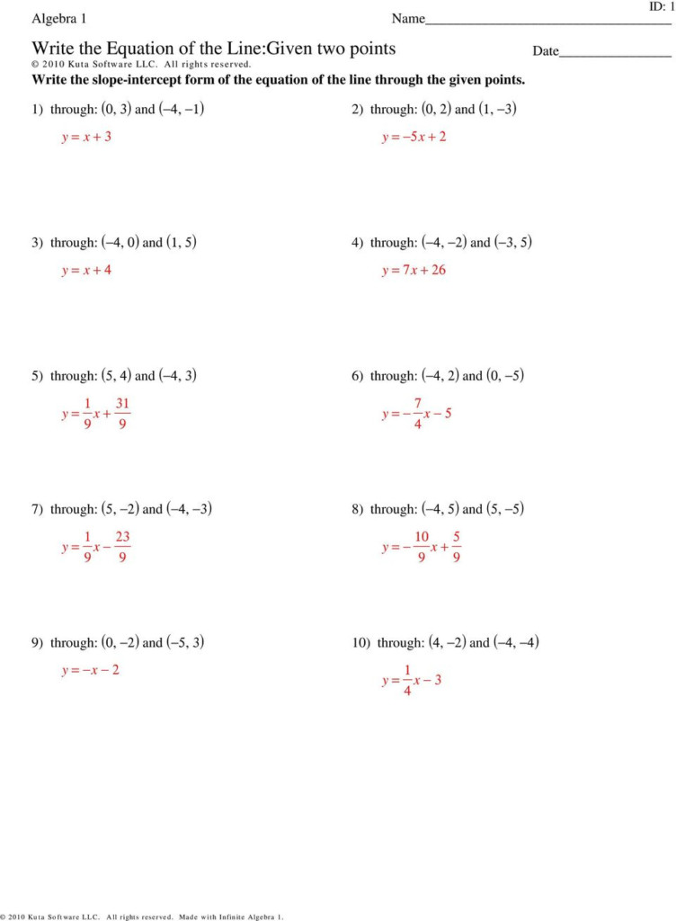 Writing The Equation Of A Line Through Two Given Points