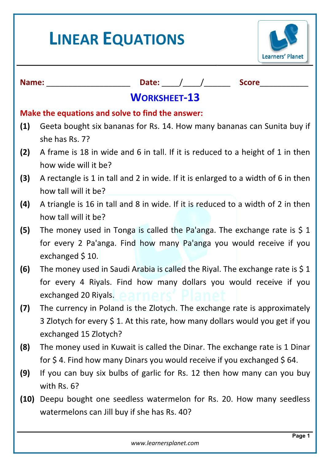 Writing Equations From Word Problems Worksheet 8th Grade