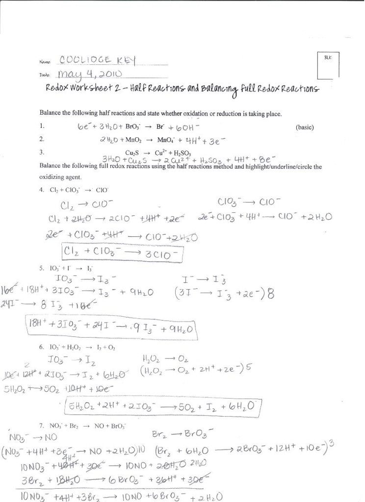 33 Oxidation And Reduction Worksheet   Worksheet Project List