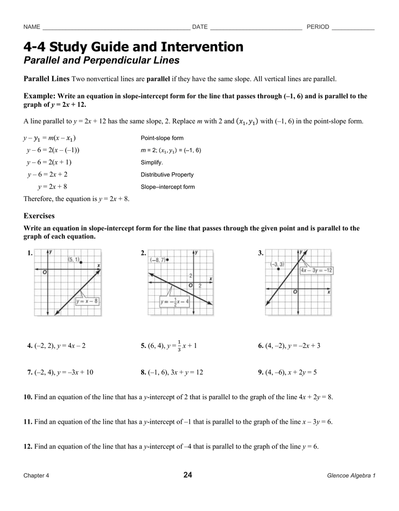 4-4 Study Guide And Intervention