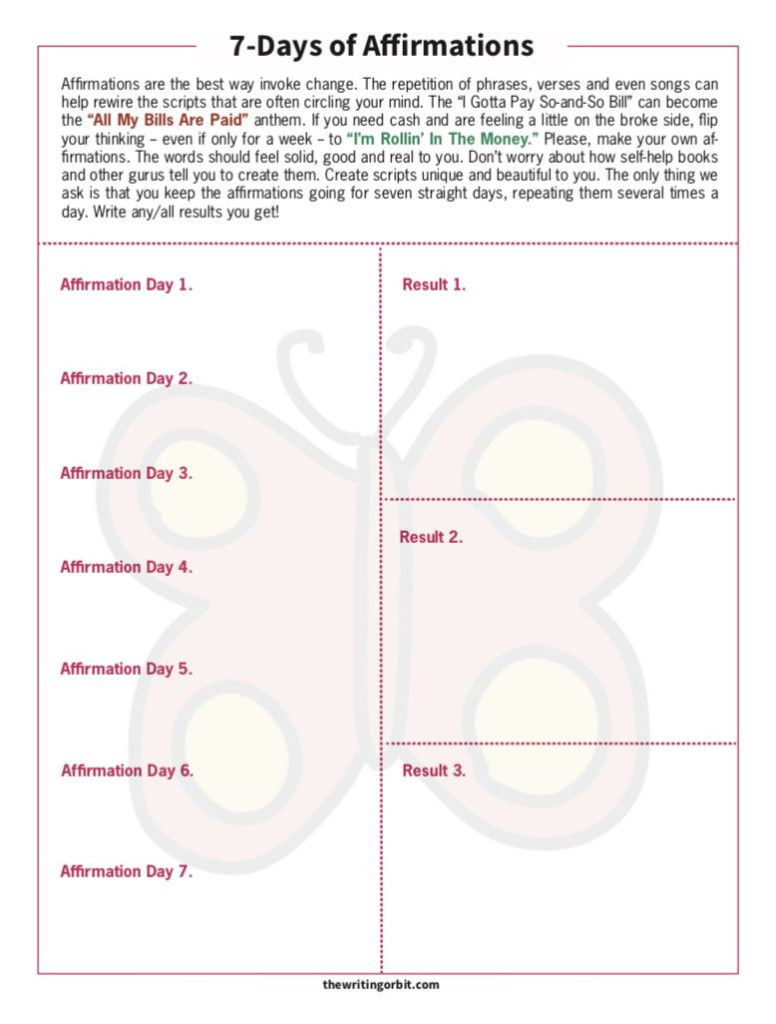 7 Days Of Affirmations Writing Worksheet | Affirmations