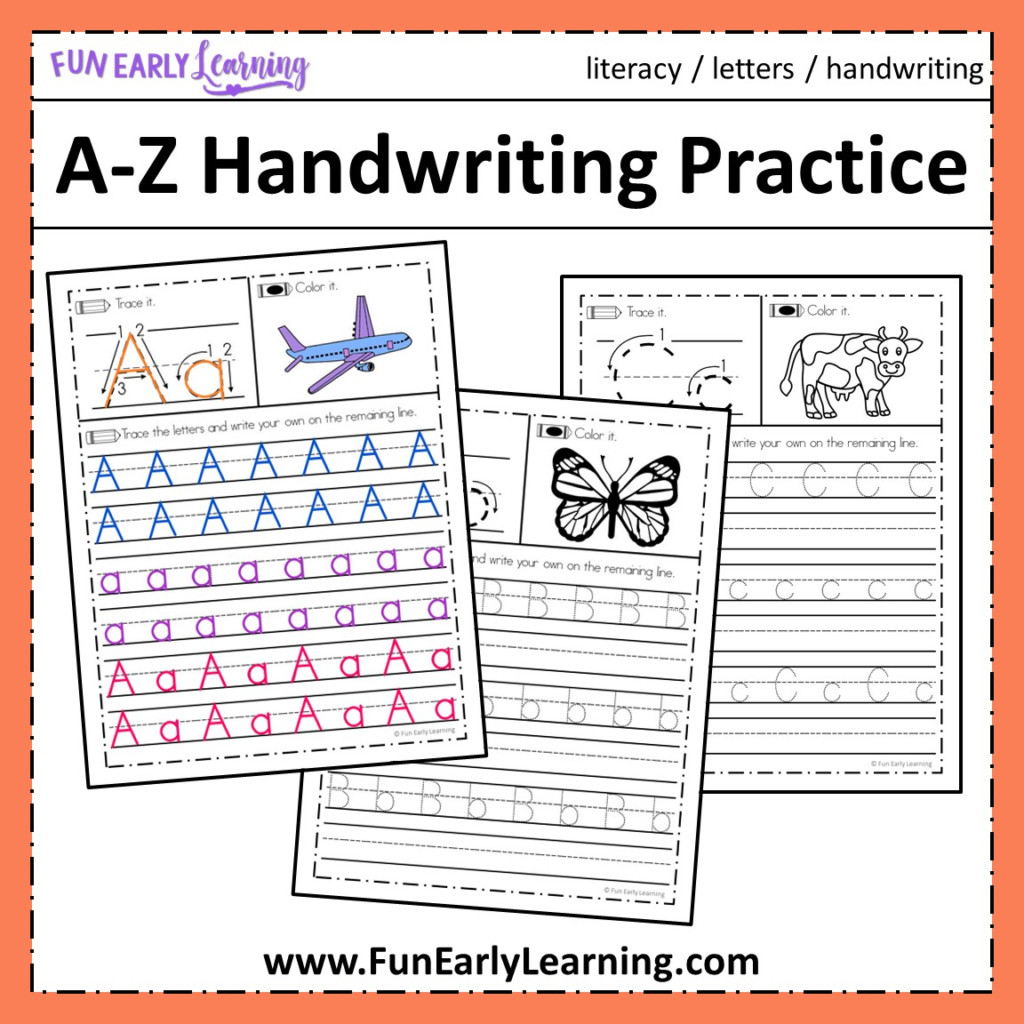 A Z Handwriting Practice No Prep Worksheets For Learning Letters