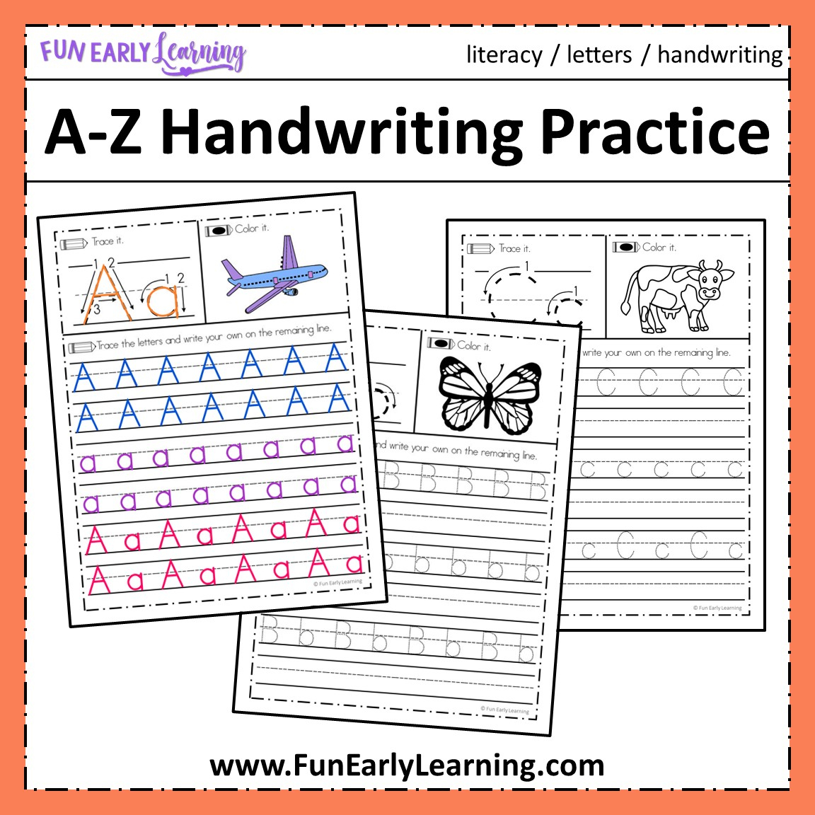 A-Z Handwriting Practice No Prep Worksheets For Learning Letters