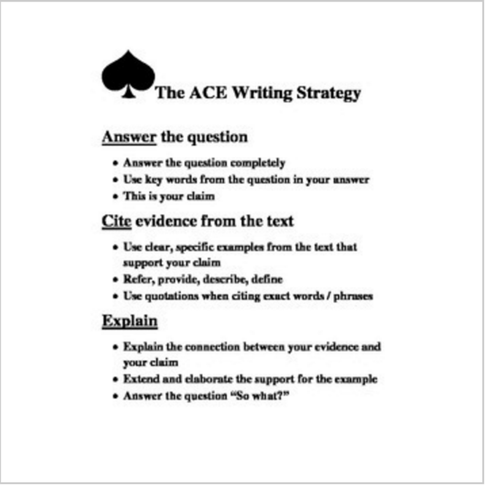 Ace Writing Strategy Poster / Handout / Worksheet In 2020