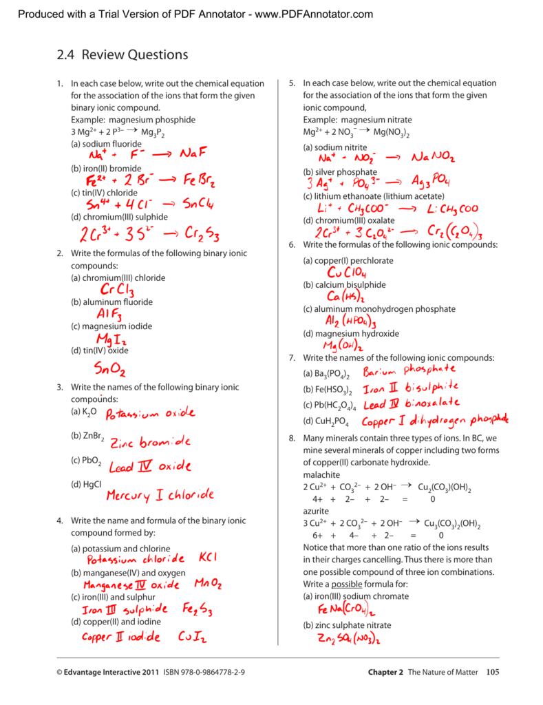 Answers To Review 2.4 From Textbook