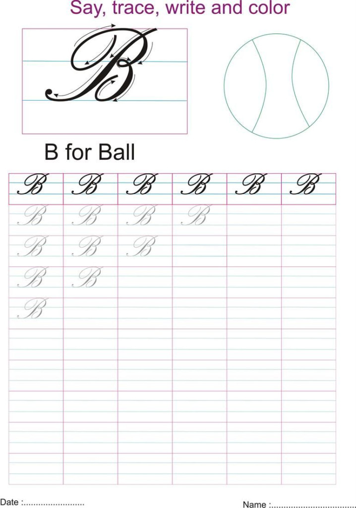 Capital Letters Cursive Writing Worksheets For 3Rd Grade