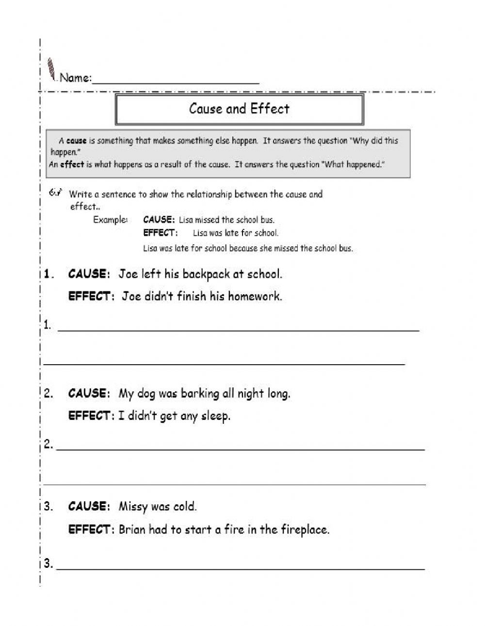 Cause And Effect 2 Interactive Worksheet