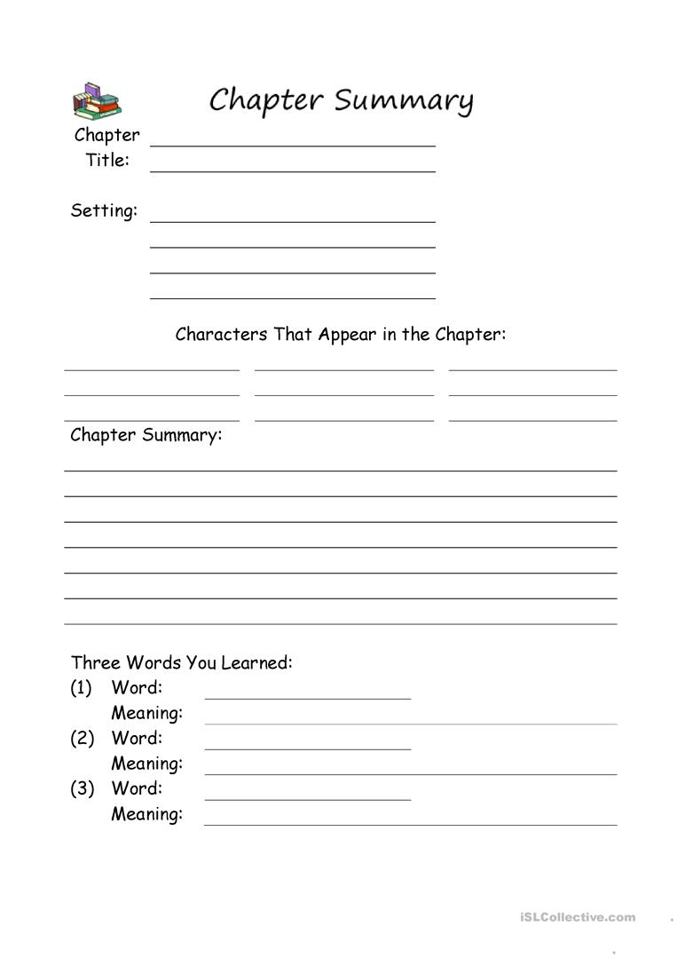 Writing A Chapter Summary Worksheet