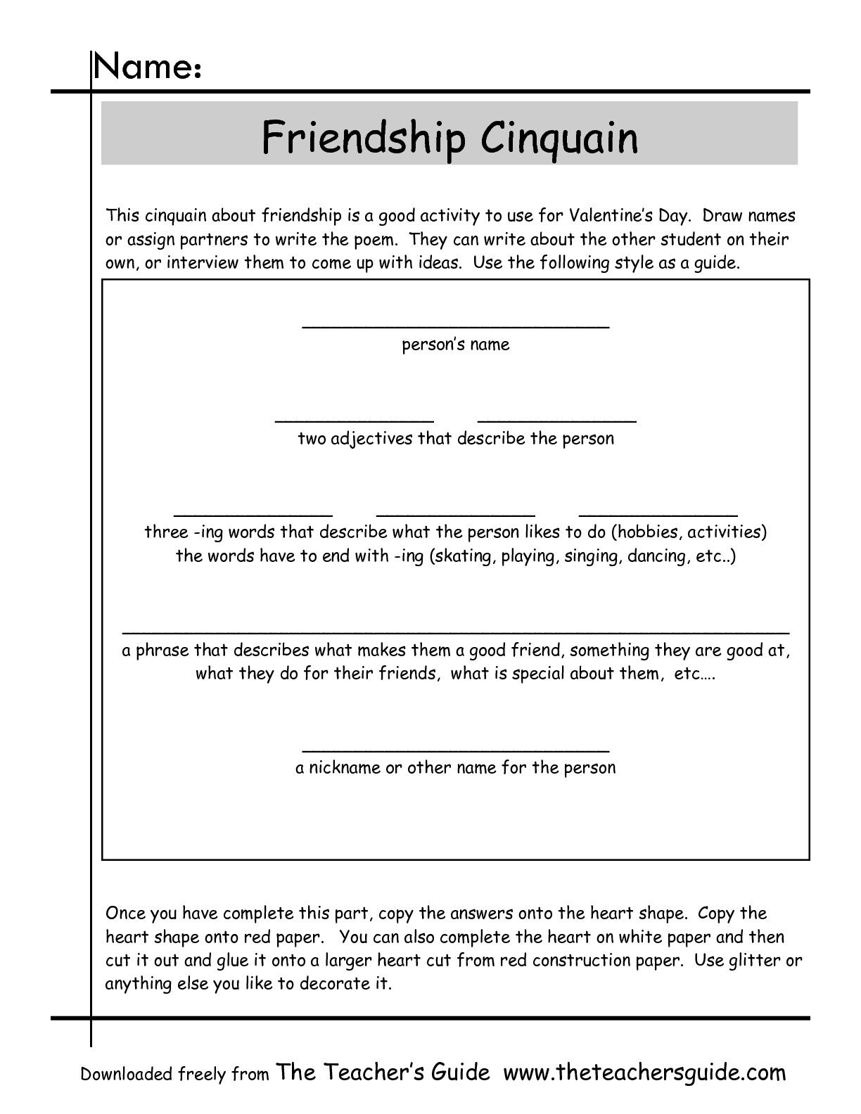 Cinquain Poems Worksheets From The Teacher's Guide   Poetry