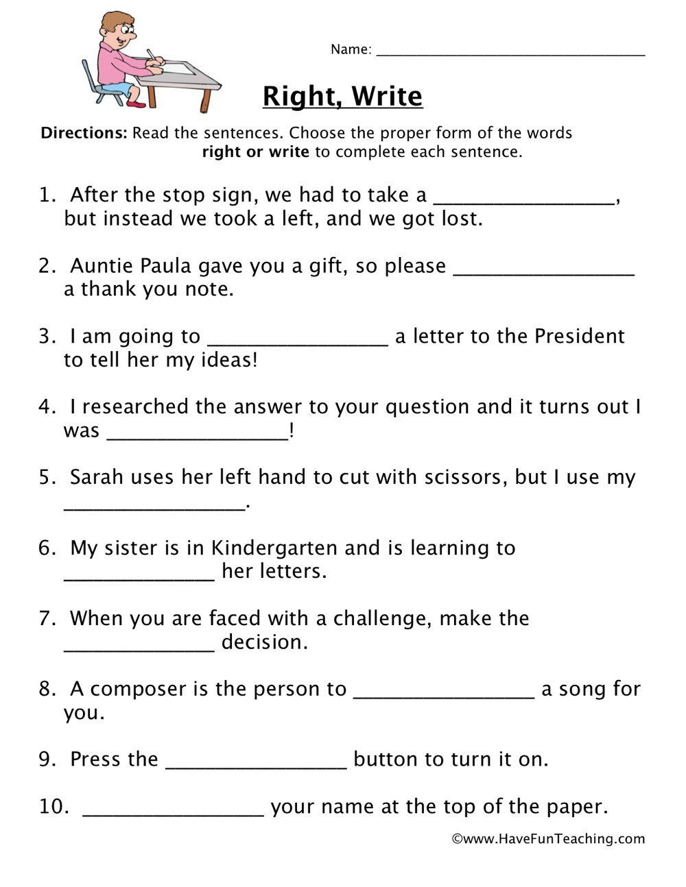 Complete Sentences Worksheets 4Th Grade Right Write