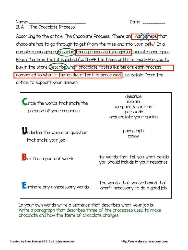 Constructed Response Cube Strategy For Analyzing Writing