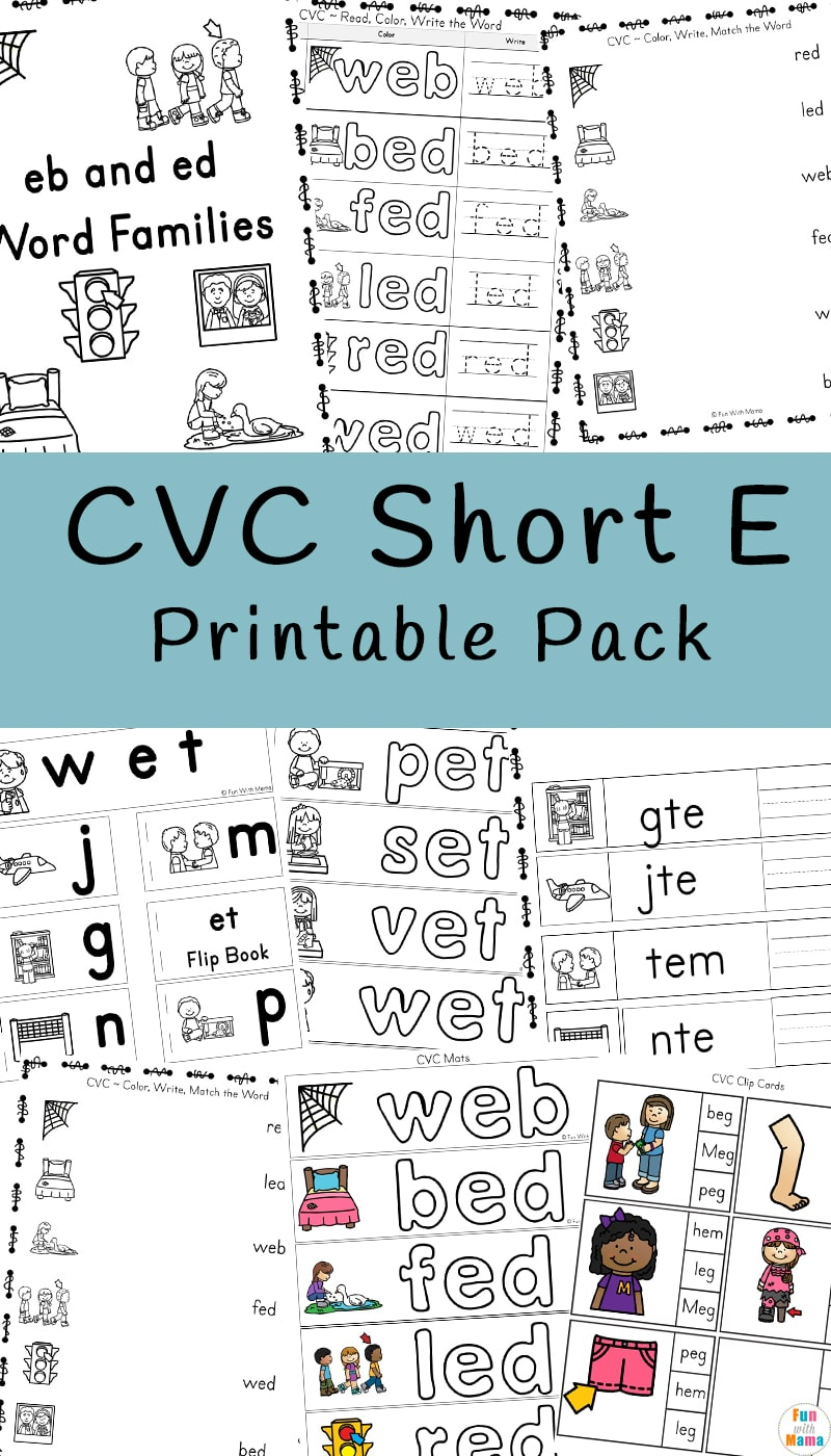Cvc Short E Words Worksheets - Fun With Mama