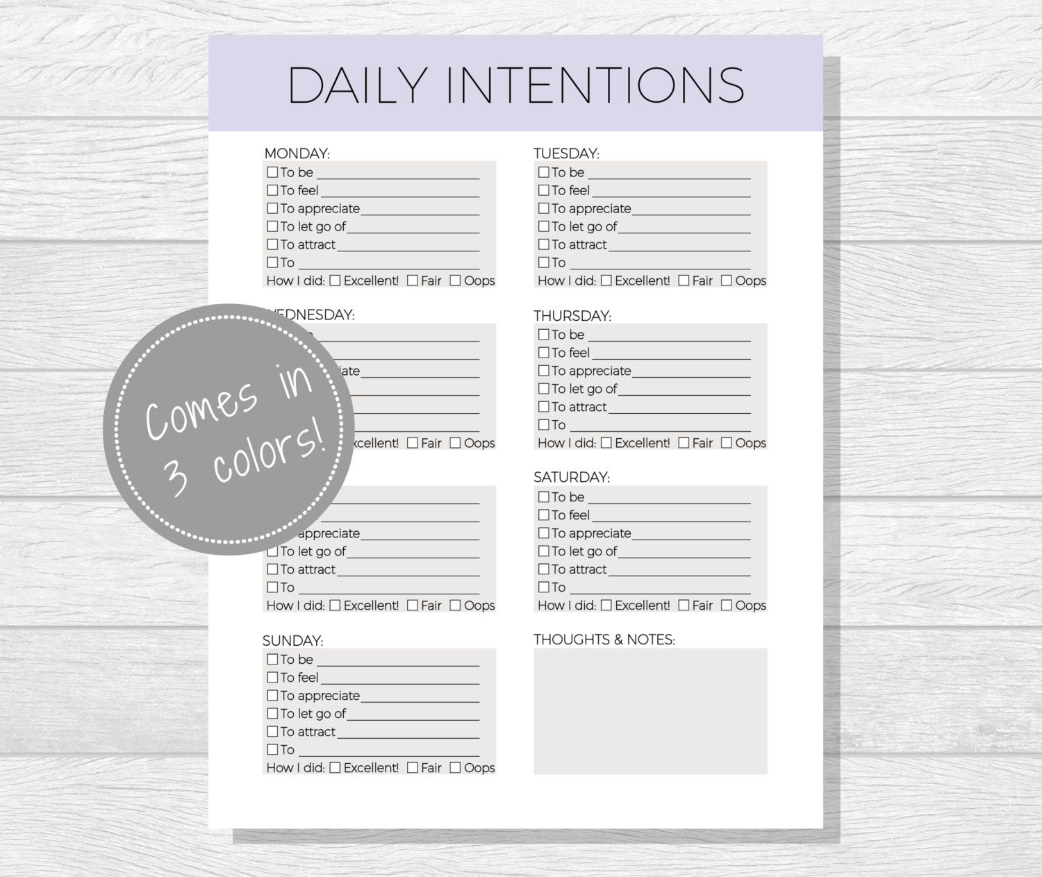 Daily Intentions Printable, Daily Affirmations, Daily Goal