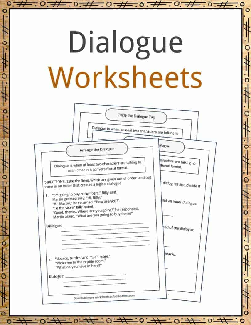 Dialogue Examples, Definition And Worksheets | Kidskonnect