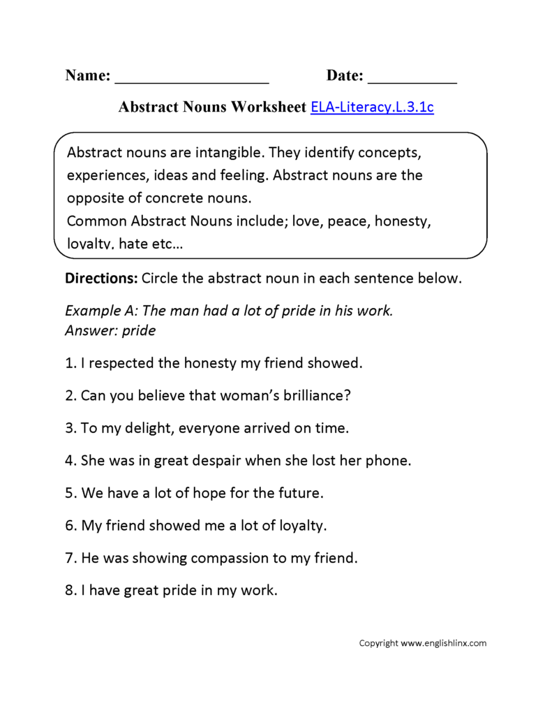 English Worksheets | 3Rd Grade Common Core Worksheets