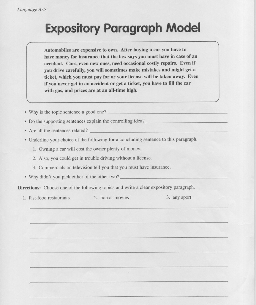 Expository Paragraph Examples 6Th Grade   Google Search