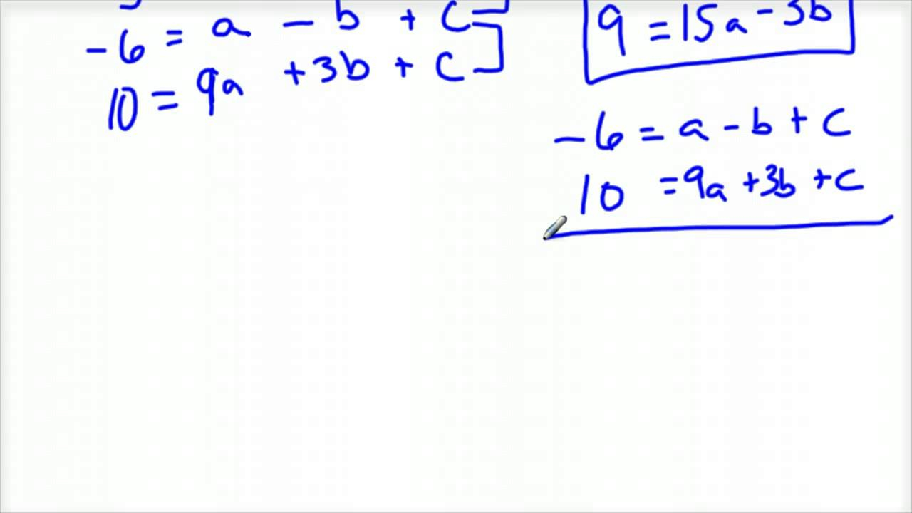 Finding The Quadratic Equation Given Three Points