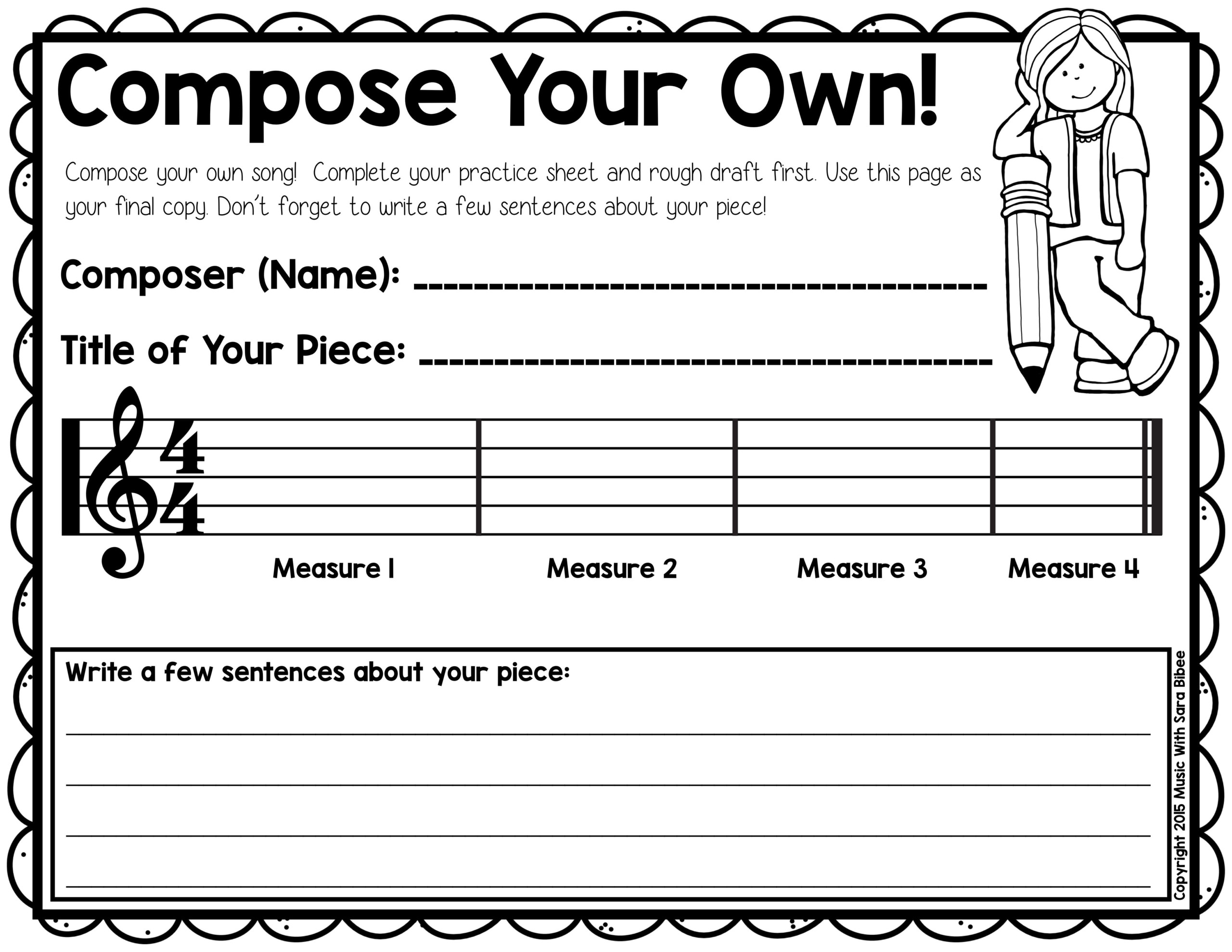 Free Composition Activity That Can Be Used For Recorders Or
